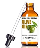 Organic Extra Virgin OLIVE OIL Skin and Hair Moisturizer in Convenient Sized 4 oz. Dark Glass Bottle with Glass Eye Dropper | Highest Quality 100% Pure , Unrefined , Cold Pressed Oil