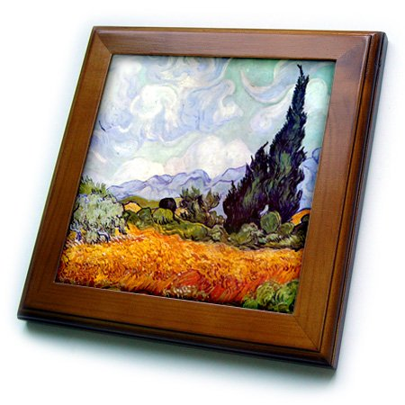 - 3dRose ft_155652_1 Wheat Field with Cypresses by Vincent Van Gogh 1889 Wheatfield Cornfield Trees Fine Landscape Framed Tile, 8 by 8-Inch