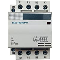 40 Amp, 4 Pole Normally Closed (NC) Contactor 32A AC-3, 40A AC-1, Coil 120VAC DIN rail mount