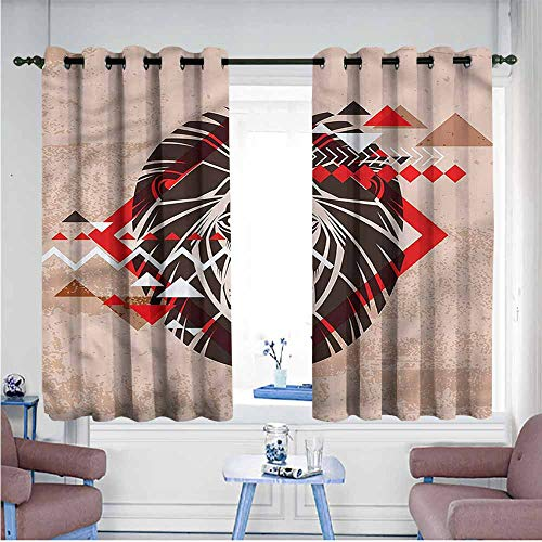 Lion Head Tattoos - Mdxizc Curtain for Kids Lion Tattoo Ethnic African Head Children's Bedroom Curtain W55 xL63 Suitable for Bedroom,Living,Room,Study, etc.