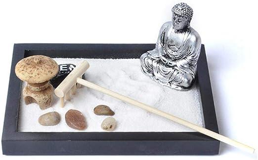 Seasaleshop - Estatua de Buda Zen de Mesa o Zen, Arena de jardín, meditación, Hecha a Mano, Estatua de Buda Zen, Arena, para jardín, meditación, relajación, Conjunto de decoración: Amazon.es: Hogar