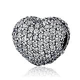 BAMOER 925 Sterling Silver Various Dazzling CZ Bead Charm For Women Snake Bracelet Charm (Heart)