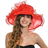 Women Voile Fascinator Church Formal Party Hat W042 (Red)