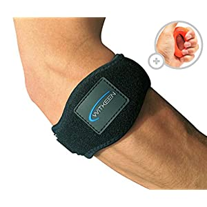 2-Pack Tennis Elbow Brace with Compression Pad by WITKEEN - Adjustable Elbow Support for Tendonitis - Premium Tennis Equipment with Elbow Strap & Hand Grip - E-Guide Bonus