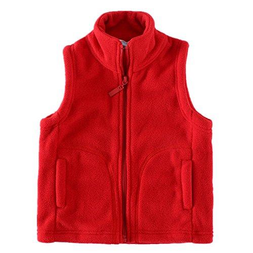 LittleSpring Little Boy' Fleece Vests Zipper Solid Red 8/9