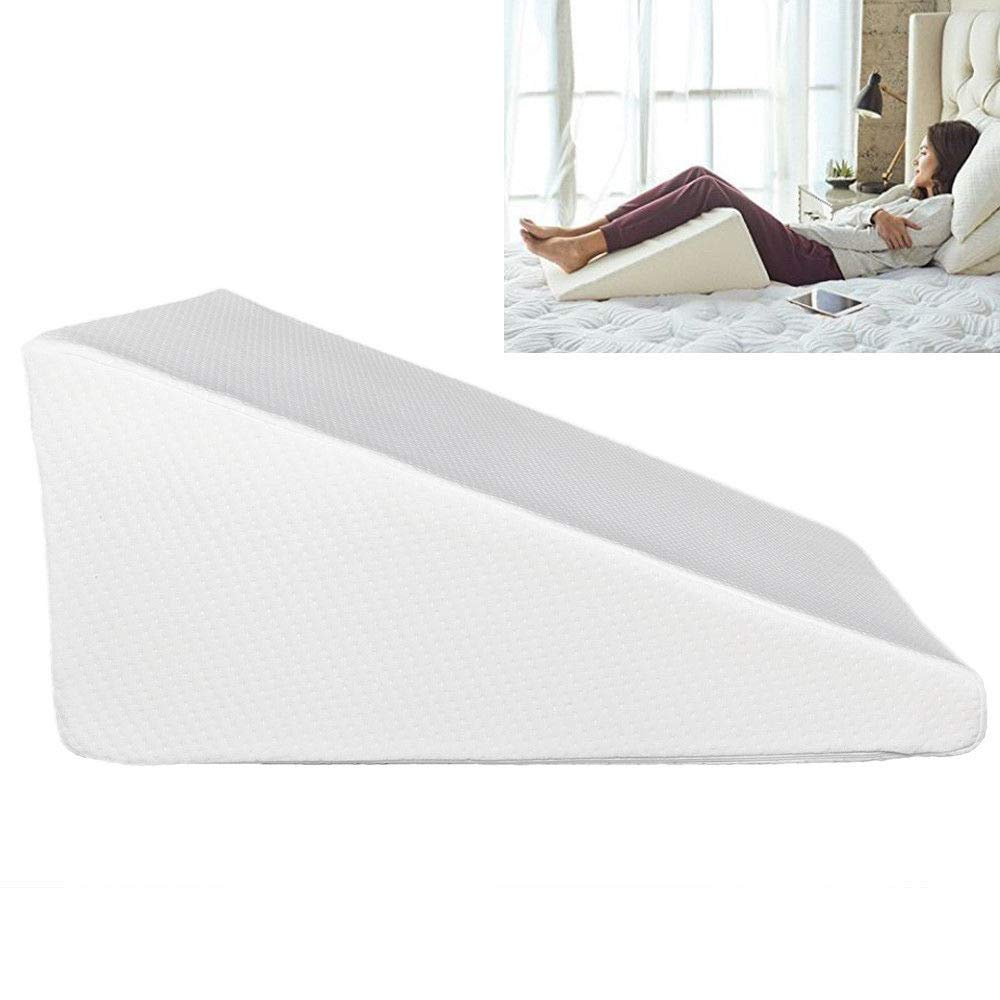 thebestshop99 Bed Wedge Pillow Foam Body Positioner Elevate Support Cushion Sleep Acid Reflux Pain Back Neck Pain Leg Rest Foot Large Size White