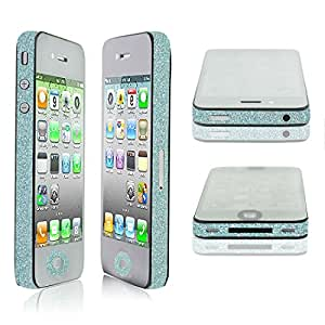 TCD for Apple iPhone 5 5S Sparkling [TURQUOISE BLUE] Glitter Side Skin ADHESIVE STICKER Skin Set - No Sticky Residue