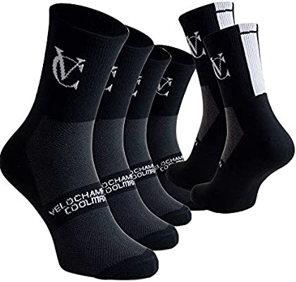 Pack of 3 Pairs Black or White VeloChampion Speed Line Coolmax Cycling Socks