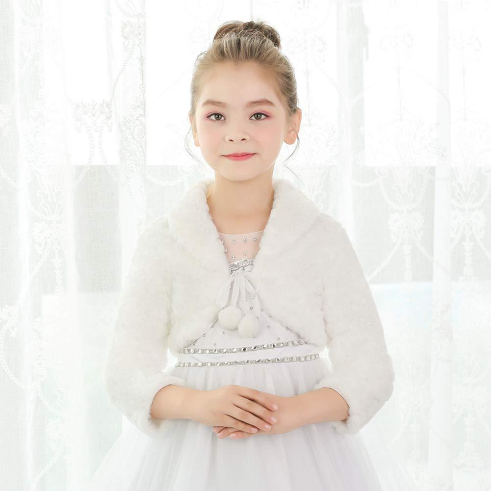 SK Studio Girls Princess Faux Fur Flower Bolero Shrug Party Wedding Dress Up by SK Studio (Image #4)