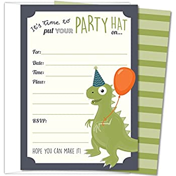 Koko Paper Co Dinosaur Party Invitations Fill In Style T Rex Design For Boys And Girls With Envelopes Set Of 25 425 X 6 Printed On Heavy 140lb Card