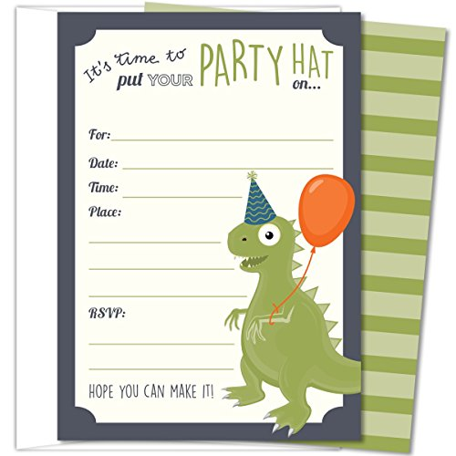 Koko Paper Co Dinosaur Party Invitations, Fill-In Style T-Rex Design For Boys and Girls, with Envelopes, Set of 25, 4.25
