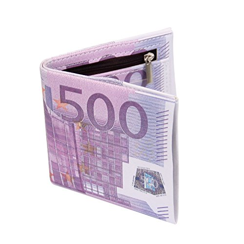 Cai Men Us Dollar Bill Wallet Billfold Leather Credit Card Photo Holder(500 Euro) (Money Clip Euro)