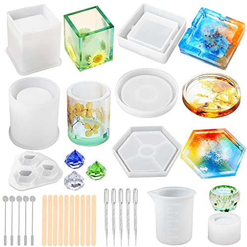 LotFancy Epoxy Resin Molds, 28pc Silicone Ashtray Coaster Molds for Resin Casting, DIY Art Crystal Diamond Plant Pot Pen Candle Soap Holder Molds, Including Measuring Cup, Droppers and Stirrers