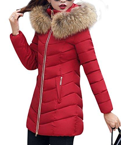 Fausse Jacket Veston Parka Fourrure Chaud Long Coat Rouge Capuche Vineux Veste Doudoune Blouson Hoodie Zip Uni lgant Manteau Hiver YOSICIL Femme q8ZaFta