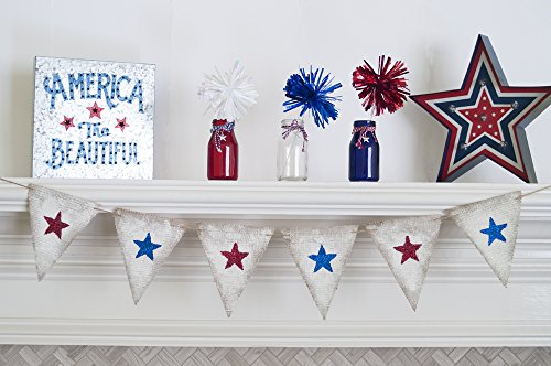 4th Of July Banners (July 4th Decorations, 4th of July Banner, July 4th Decor, Stars Patriotic Bunting, 4th of July Party, July 4th Home Decor B322)