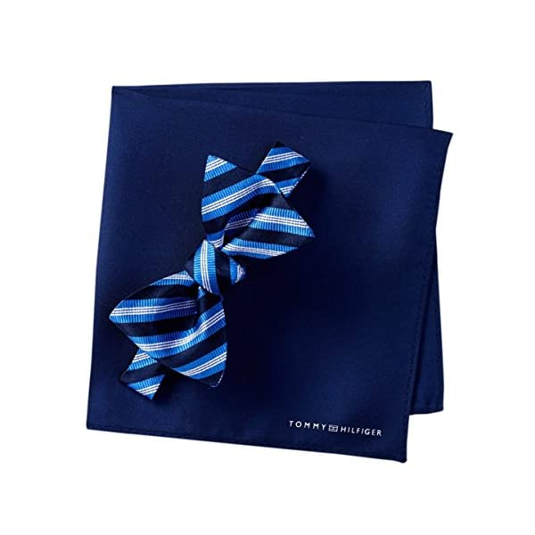 Tommy-Hilfiger-Mens-Silk-Stripe-Bow-Tie-Pocket-Square-Set-OS