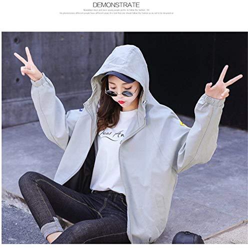 Outerwear Distintivo Patch Glamorous Grau Con Manica Autunno Allentato Cappotto Lunga Donna Giacca Cappuccio Di Moda Baggy Eleganti Cerniera Semplice Primaverile Giacche xOXUWFqw