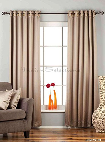 Brownish Gray Ring / Grommet Top 90% blackout Curtain / Drape / Panel - 60W x 96L - Piece (60 Curtains 90 X)