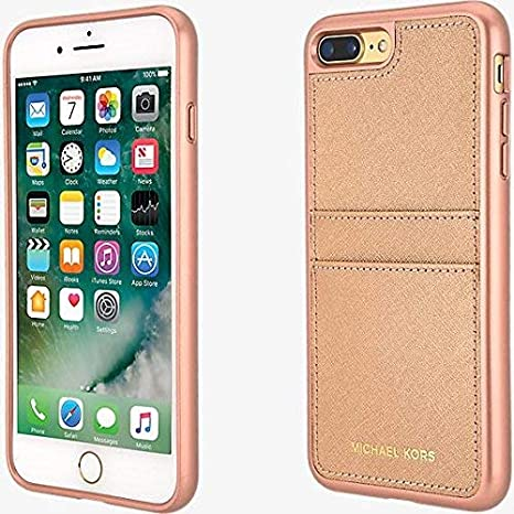 c5bd0fc86ad32 Amazon.com  Michael Kors Saffiano Leather Pocket Case w ID Holder for  iPhone 8 Plus 7 Plus - Rose Gold  Cell Phones   Accessories
