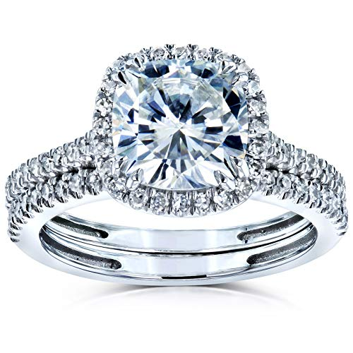 Kobelli Cushion Brilliant Moissanite Halo Bridal Wedding Rings Set 2 3/8 CTW 14k White Gold (DEF/VS, GH/I), 6.5