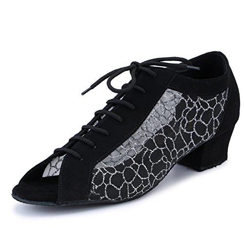 Pro Dancer Women Ballroom Dancing Shoes Salsa Sandals Latin Dance Practice Shoe, Silver Fabric, 10.5 B(M) US (Footwear Silver Fabric)