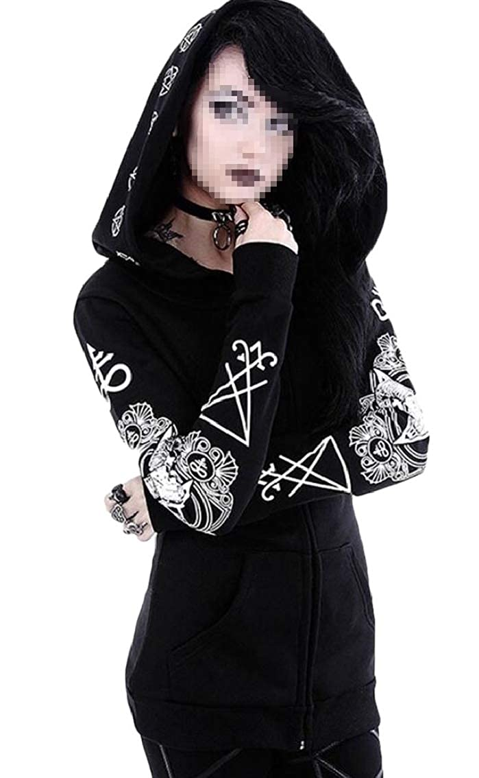 WAWAYA Women Gothic Zipper Witchcraft Hoodie Punk Casual Sweatshirt Jacket