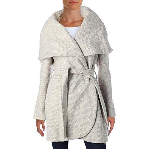 T Tahari Womens Marla Tweed Oversized Collar Wrap Coat Taupe L