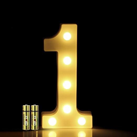 LED Zahlen Lampe Nummer Beleuchtete Ziffern 0 bis 9,Led dekoration f/ür Geburtstag Party Hochzeit /& Urlaub Haus Bar,6