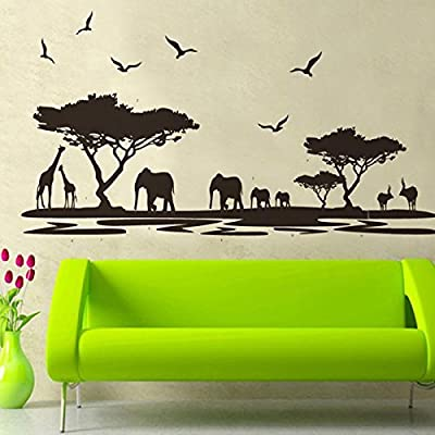 """Dnven (63""""w X 30""""h) Home Decor Mural Vinyl Wall Sticker Removable Animal Black Elephant Living Room Wall Art Decal Paper"""