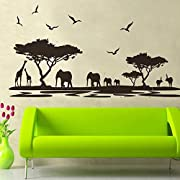 DNVEN Border (63 w X 30 h) African Elephants Mural Vinyl Wall Decals Safari Africa Jungle Animal Elephant Giraffe Wall Decor for Living Room Forest Animals Wall Decals Scene for Kids Nursery Bedroom