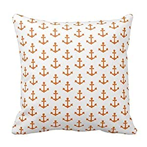 Home Style Anchors Nautical Bright Orange White Sailor Pillowcases Personalized 20x20 inch Square Cotton Throw Pillow Cover Twin Sides