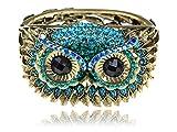 Alilang Womens Antique Golden Owl Face Crystal Rhinestones Cuff Bracelet