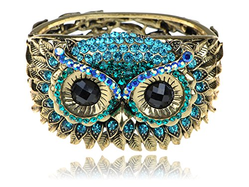 Alilang Womens Antique Golden Owl Face Crystal Rhinestones Cuff Bracelet