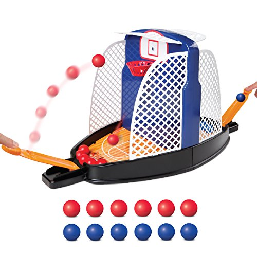 SHARPER IMAGE Shootout Hoops Toy Basketball Set, Portable & Travel Friendly Design, Play Indoors On Tabletop Or Desk, Arcade Style Two Player Action, Built in Precision Launchers, Great for Children (Best Games On Tabletop)