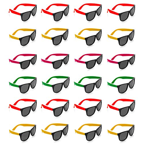 Kicko - Neon Sunglasses with Dark Lenses - 24 Pack 80's Style Unisex Aviators in Assorted Colors - Gift, Costume Props, Party Favors, Class Rewards, Getaway Accessories for Kids Alike