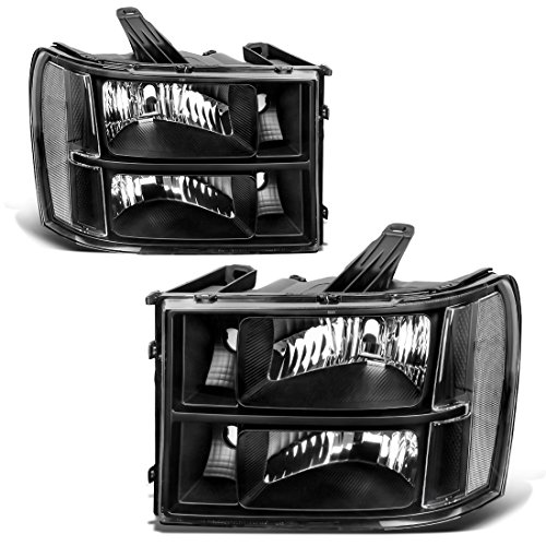 For 2007-2014 GMC Sierra 1500/2500HD/3500HD Headlight Assembly Headlamps Replacement Black Housing Clear Lens (Driver and Passenger Side), One-Year Warranty