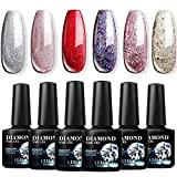 Modelones Glitter Gel Nail Polish Set - 6pcs 10ml Soak Off UV LED Glitter Diamond Series Nail Gel Varnish Manicure Kit
