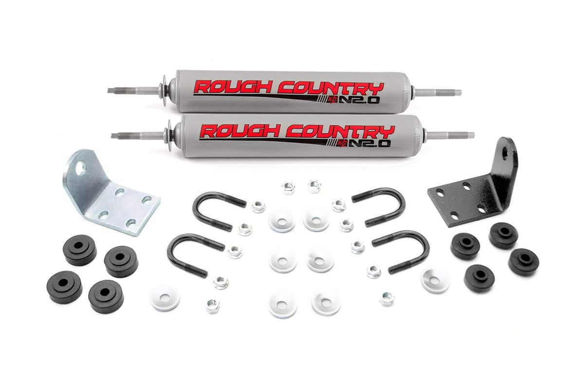 Rough Country - 87336.20 - Dual Steering Stabilizer w/Premium N2.0 Shocks for Ford: 77-79 Bronco 4WD, 77-79 F100 4WD, 77-79 F150 4WD