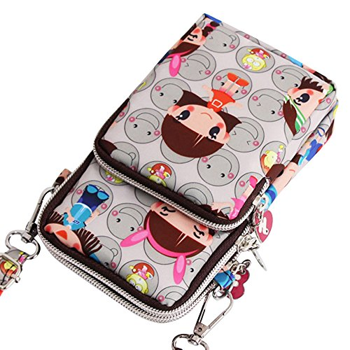 Design Ladies Wristlet Shoulder Wocharm Grey Handbags Girls Crossbody Nylon Bag Smile Small tRqxB