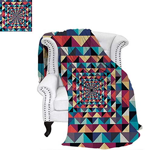 (Lightweight Blanket Modern Style Visual Patchwork Effect with Colorful Retro Composition Print Digital Printing Blanket 80