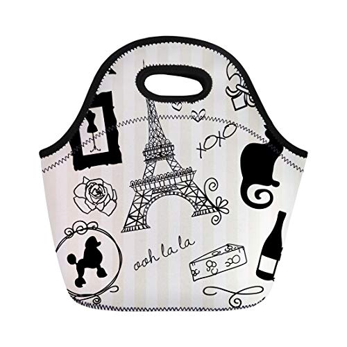 Semtomn Neoprene Lunch Tote Bag Poodle Paris Doodles French Chat Ooh Noir Xoxo Girly Reusable Cooler Bags Insulated Thermal Picnic Handbag for Travel,School,Outdoors,Work ()