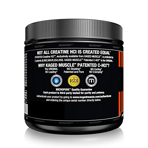 Kaged Muscle C-HCl, Pure Creatine HCl, Patented Creatine Powder - Made in the USA, Unflavored, 75 Servings
