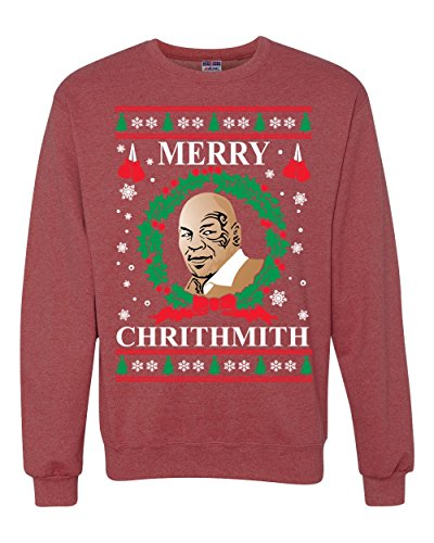 Wild Bobby Merry Chrithmith Mike Tyson Ugly Christmas Sweater Unisex Crewneck Sweatshirt, Vintage Heather Red, 2XL - Red Crewneck Jumper