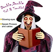 "UFUNGA Hanging Talking Witch - 7"" Life Size Halloween Decorations"