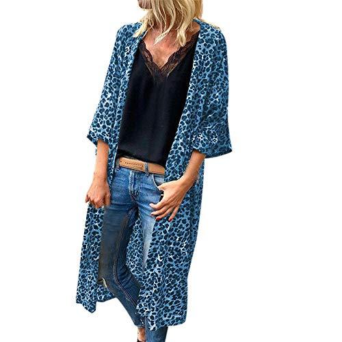 - URIBAKE ❤ Fashion Women's Cardigan Autumn Winter 3/4 Sleeves Leopard Print Sexy Open Front Cape Bllouse