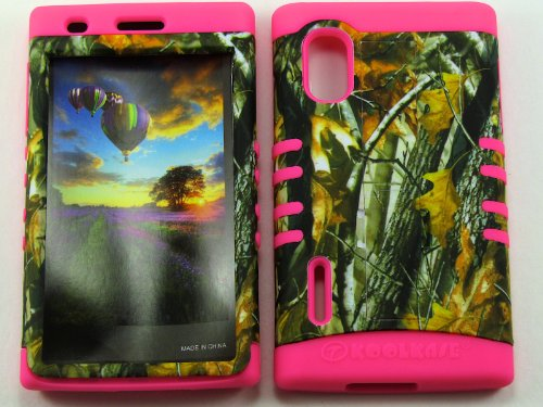 LG OPTIMUS EXTREME L5 CASE HUNTER FOREST CAMO BIG BRANCH MA-WFL027 HEAVY DUTY HIGH IMPACT HYBRID COVER MAGENTA HOT PINK SILICONE SKIN - White Ma Oaks