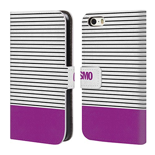 Official Cosmopolitan Violet 1 Stripes Collection Leather Book Wallet Case Cover For Apple iPhone 5 / 5s / SE