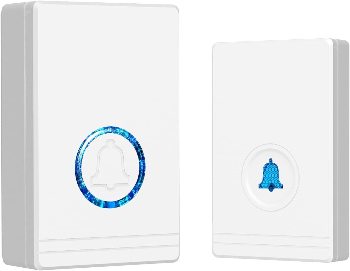 Wireless Door Chime Waterproof Doorbell Mini Cordless Doorbells Kits with 1300-ft Range 48 Ringtones 5 Volume Levels & LED Flash for Home Office, White