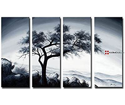 Framed Modern Black and White Lonely in December Wall Art Oil Painting 4 Piece