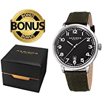Akribos XXIV Men's Classic Watch AK1025SSBK Series - Arabic Numeral Markers with a Comfortable Canvas Covered Genuine Leather Strap - Packed in a Beautiful Gift Ready Box (Black, Silver & Green)
